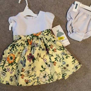 NWT Yellow floral baby dress with bloomers